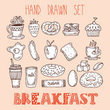 Collection of various sketches food and doodles elements. Hand d Stock Photo