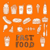 Collection of various sketches food and doodles elements. Hand d Royalty Free Stock Images