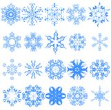 Collection of various snowflakes Royalty Free Stock Images