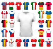 Collection of various soccer jerseys. Royalty Free Stock Image