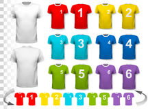 Collection of various soccer jerseys with numbers.. The T-shirt is transparent and can be used as a template with your own design. Vector Stock Images