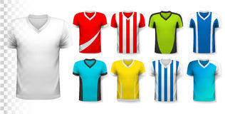 Collection of various soccer jerseys. Stock Photos