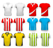 Collection of various soccer jerseys. Stock Image