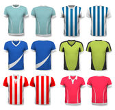 Collection of various soccer jerseys. Royalty Free Stock Photography