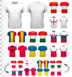 Collection of various soccer jerseys. The T-shirt is transparent and can be used as a template with your own design. Vector Royalty Free Stock Image