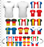 Collection of various soccer jerseys. The T-shirt is transparent. And can be used as a template with your own design. Vector Royalty Free Stock Photos