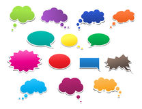 Ser of colorful bubbles. Collection of various speech bubbles Stock Image