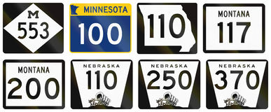 Collection of various state route shields in the US Royalty Free Stock Photography