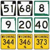 Collection of various state route shields in the US Stock Images