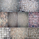 Collection of various stone paving textures Royalty Free Stock Images