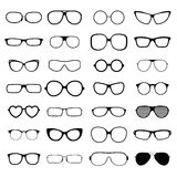 Collection various styles of fashion glasses solid black silhouette vector. Royalty Free Stock Image