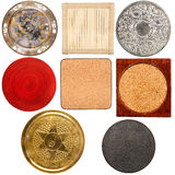 Collection of various table coasters Stock Photos
