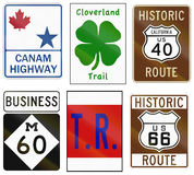 Collection of various themed highway shields in the US Royalty Free Stock Photography