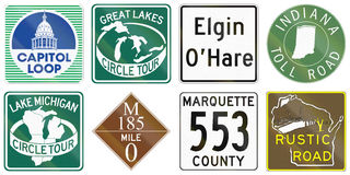 Collection of various themed highway shields in the US Royalty Free Stock Image