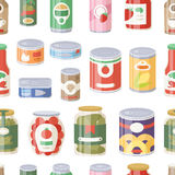 Collection of various tins canned goods food metal container grocery store and product seamless pattern storage aluminum Royalty Free Stock Photos