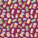 Collection of various tins canned goods food metal container seamless pattern background royalty free illustration