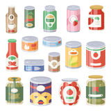 Collection of various tins canned goods food metal container grocery store and product storage aluminum flat label Stock Photos