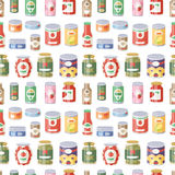 Collection of various tins canned goods food metal container product seamless pattern vector illustration. stock illustration