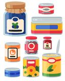 Collection of various tins canned goods food metal and glass container. Collection of various tins canned goods food metal conserve nutrition and glass container vector illustration
