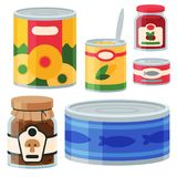 Collection of various tins canned goods food metal and glass container vector illustration. stock illustration