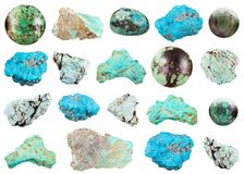 Collection of various Turquoise gemstone isolated Royalty Free Stock Photography