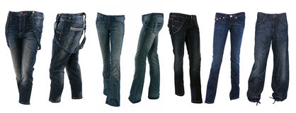 Collection of various types of blue jeans trousers Royalty Free Stock Photo