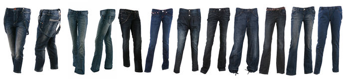 Collection of various types of blue jeans trousers Royalty Free Stock Image