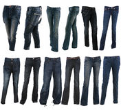 Collection of various types of blue jeans trousers Stock Photography