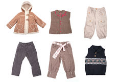 Collection of various types of children clothes Stock Images