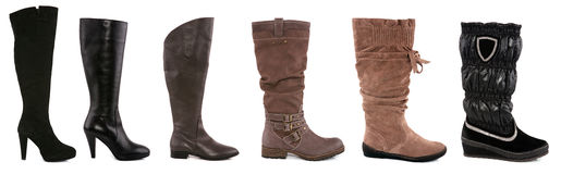 Collection of various types of female boots Stock Images