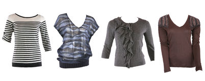 Collection of various types of female shirts Royalty Free Stock Photos