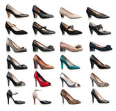 Collection of various types of female shoes Royalty Free Stock Photography