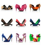 Collection - various types of female shoes Royalty Free Stock Image