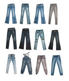 Collection of various types of jeans Royalty Free Stock Photo