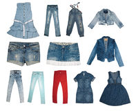 Collection of various types of jeans Royalty Free Stock Images