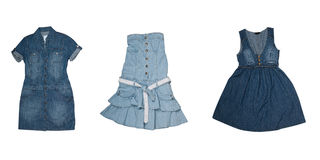 Collection of various types of jeans dresses Royalty Free Stock Images