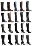 Collection of various types of knee high boots Stock Images