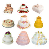 Collection of various types of wedding cakes Stock Photography