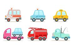 Flat vector set of various vehicles. Ambulance, police car, yellow taxi, tow truck, wrecking car and fire engine. Collection of various vehicles. Ambulance Royalty Free Stock Photo