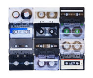 Collection of various vintage audio tapes Stock Photography