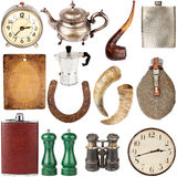 Collection of various vintage items. Big size collection of various vintage items including clocks, teapots, flasks isolated on white background Stock Photos