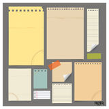 Collection of various vintage papers (paper sheets, note paper), Royalty Free Stock Images