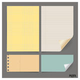 Collection of various vintage papers (paper sheets, note paper), Stock Photo