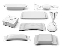 Collection of  various white bag package template on white backg. Round. 3d illustration Stock Photography