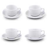 Collection of various white coffee cups on white b Stock Photos