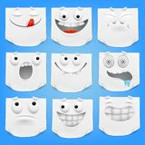 Collection of various white emoticon cartoon characters note paper with curled corner. Vector illustration royalty free illustration