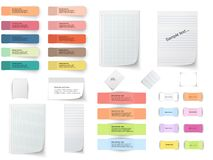 Collection of various white papers, leaves for the label ready for Your message. Vector illustration Stock Photos