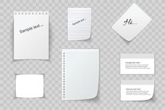 Collection of various white papers, leaves for the label ready for Your message. Vector illustration Royalty Free Stock Image