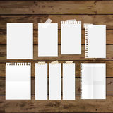 Collection of various white papers, ready for your message. Vect Stock Image