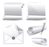 Collection of various white scrolls and envelope w Royalty Free Stock Photo